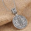 Vintage Round Shape Hollow Out Flower Necklace For Women for sale