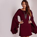 cheap Simple Scoop Collar Flare Sleeve Pure Color A-Line Women Mini Dress