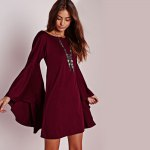 Simple Scoop Collar Flare Sleeve Pure Color A-Line Women Mini Dress for sale
