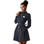 Chic Stand Collar Long Sleeve Dot Print Button Design Lace-Up A-Line Women Mini Dress deal