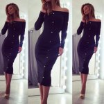 Sexy Off The Shoulder Long Sleeve Single Breasted Bodycon Women Midid Dress for sale