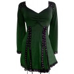 Retro Style V-Neck Lace-Up Design Long Sleeve High Waist T-Shirt For Women
