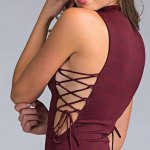 Elegant Jewel Collar Sleeveless Pure Color Lace Up Hollow Out Bodycon Women Midi Dress deal
