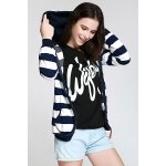 Long Sleeve Striped Zippered Women's Hoodie for sale