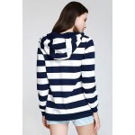 best Long Sleeve Striped Zippered Women's Hoodie
