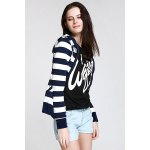 Long Sleeve Striped Zippered Women's Hoodie deal