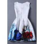 cheap Vintage Round Collar Violin Print Sleeveless Dress For Women