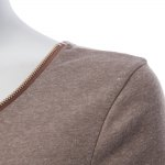 Sexy Plunging Neck Long Sleeve Zippered Pure Color Bodycon Ladies Dress photo