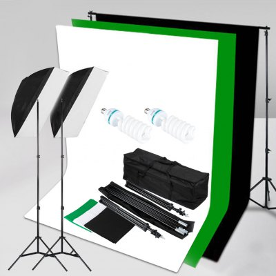 125W Studio Softbox Continuous Lighting Kit + 3 Backdrop background Stand & Bag