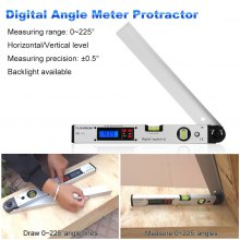 Floureon 0~225 degree Protractor Spirit Level Digital Angle Meter