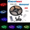 Excelvan 16.4ft 5M Waterproof Flexible strip SMD3528 RGB 300LEDs Color Changing LED Light Strip Kit, IP65 Waterproof, 44Key IR Remote Control+ 2A Power Adapter, Multi-color Blossom Decorative Gardens, for sale
