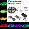 Excelvan 16.4ft 5M Flexible strip SMD5050 300LEDs Color Changing LED Light Strip Kit, 44Key IR Remote Control+ 5A Power Adapter, Multi-color Blossom Decorative Gardens, Lawn, Patio, Christmas Trees, W