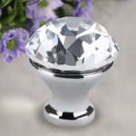 Floureon 5 x 25MM Silver Clear Crystal Glass Door Knob with Screw