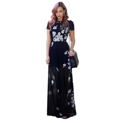 ZAFUL brand 2016 new arrival summer style fashion elegant maxi dress woman short sleeve  floral  printing chiffon dressMaxi Dresses<br>ZAFUL brand 2016 new arrival summer style fashion elegant maxi dress woman short sleeve  floral  printing chiffon dress<br>