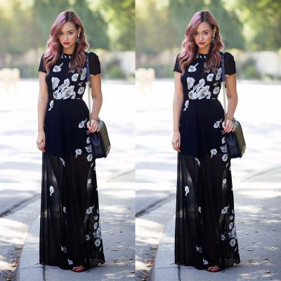 ZAFUL brand 2016 new arrival summer style fashion elegant maxi dress woman short sleeve  floral  printing chiffon dress