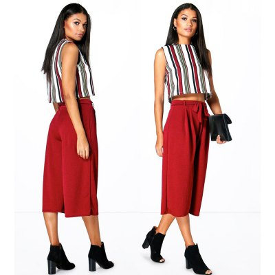 Spring Autumn OL style bandage casual woman Three-quarter Ultra-wide-leg trousers