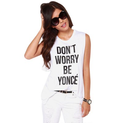 Fashon rock Don\\\t worry be yonce printing round neck woman vestTank Tops<br>Fashon rock Don\\\t worry be yonce printing round neck woman vest<br>