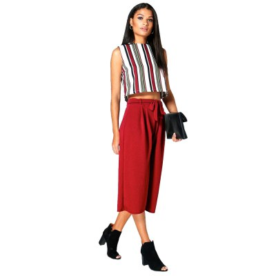 Spring Autumn OL style bandage casual woman Three-quarter Ultra-wide-leg trousersPants<br>Spring Autumn OL style bandage casual woman Three-quarter Ultra-wide-leg trousers<br>