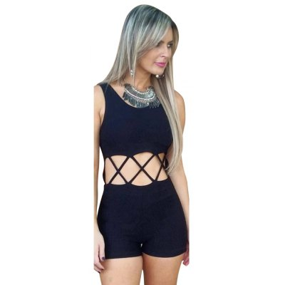 2016 new arrival summer style sleeveless piece shorts woman sexy hollow design backless siamese shorts