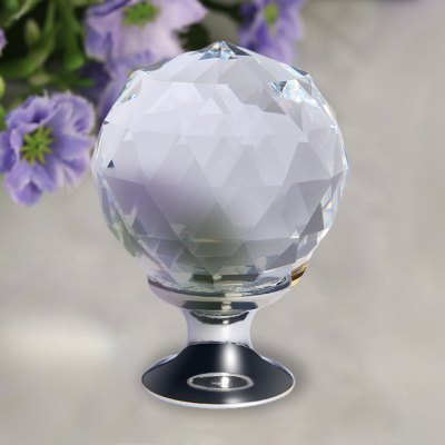 Finether Silver Clear Crystal Glass Door Knob + Screw 8 X 30MM