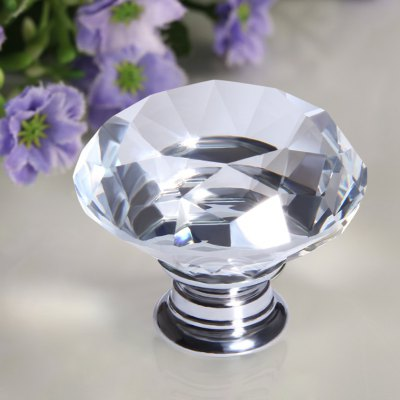 Finether 5 X 40MM Silver Clear Crystal Glass Door Knob + Screw