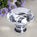 Finether 8 X 40MM Silver Clear Crystal Glass Door Knob