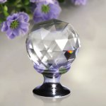 Finether 5 X 25MM Silver Clear Crystal Glass Door Knob