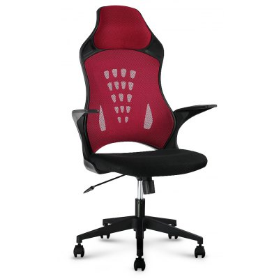 (DE MCT066 RED) LANGRIA High-Back Swivel Red Mesh Office Chair, Computer Gaming Chair with Knee-Tilt, 130 Kg Capacity