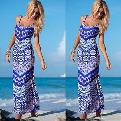 Spring Autumn new style fashion printing loose casual  woman dress chiffon braces national dressSleeveless Dresses<br>Spring Autumn new style fashion printing loose casual  woman dress chiffon braces national dress<br>