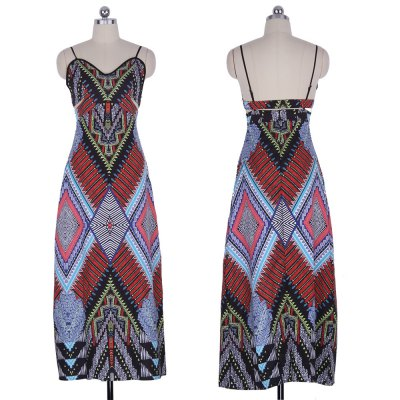 2016 summer fashion national printing backless woman braces dressSleeveless Dresses<br>2016 summer fashion national printing backless woman braces dress<br>