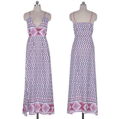2016 fashion national printing sexy deep-V-neck long woman braces dressSleeveless Dresses<br>2016 fashion national printing sexy deep-V-neck long woman braces dress<br>