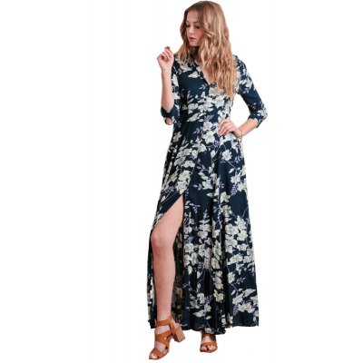 2016 spring summer new style romantic floral printing lapel button fly long sleeve woman shirt chiffon dress
