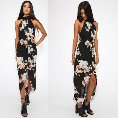 2016 new arrival summer style sexy printing dress woman halter front split plant printing chiffon dressSleeveless Dresses<br>2016 new arrival summer style sexy printing dress woman halter front split plant printing chiffon dress<br>