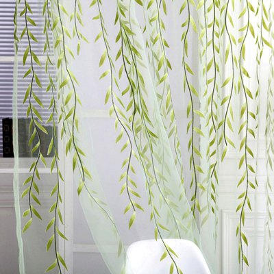 (CURTAIN WILLOW G) Finether Shimmery Willow Branch Printed Rod-Pocket Sheer Curtain Single Voile Curtain Panel, 78.8 x 39.4 Inches, GreenWindow Treatments<br>(CURTAIN WILLOW G) Finether Shimmery Willow Branch Printed Rod-Pocket Sheer Curtain Single Voile Curtain Panel, 78.8 x 39.4 Inches, Green<br>