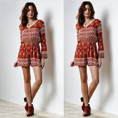 2016 new arrival sexy v-neck design woman printed elegant dress with long sleevesJumpsuits &amp; Rompers<br>2016 new arrival sexy v-neck design woman printed elegant dress with long sleeves<br>