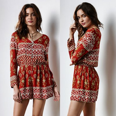 2016 new arrival sexy v-neck design woman printed elegant dress with long sleeves