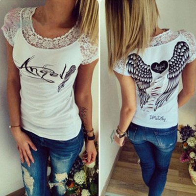 2016 summer sexy hollow lace sleeve wing printing woman casual t-shirt...