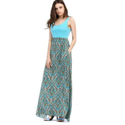 2016 summer new arrival beach vacation bohemian sleeveless solid color top high waist printing long dress color blocking dress