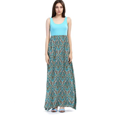 2016 summer new arrival beach vacation bohemian sleeveless solid color top high waist printing long dress color blocking dressSleeveless Dresses<br>2016 summer new arrival beach vacation bohemian sleeveless solid color top high waist printing long dress color blocking dress<br>