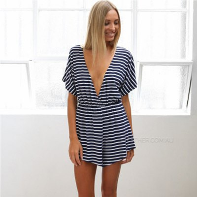 2016 new arrival summer style sexy deep v-neck design woman  fashion casual striped dress