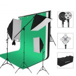 Excelvan 2000W Photo Studio LED Continuous Lighting Kit- 3 Color Backdrop & Background Support+ 4-Socket & Auto Pop-Up Softbox+ Light Stand + 45w LED Lamp+ Portable Bag with EU Plug