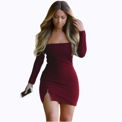 2016 new arrival  fashion a word shoulder design woman sexy zipper stitching hip dress
