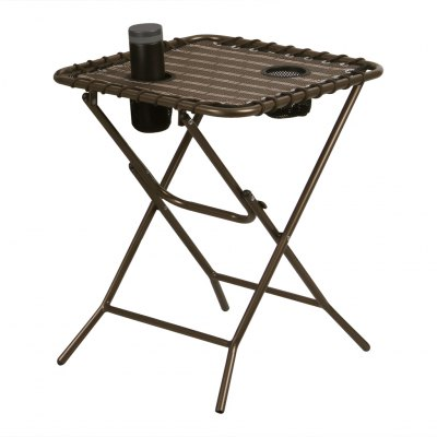 (FOLD SIDE TABLE) Finether Folding Side Table with Mesh Drink Holders for Patio, Garden, Picnics, Beach, Camping and Home, Bronze