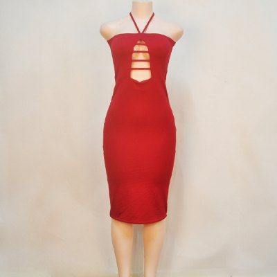 2016 new style hollow out chest slash woman halter dressSleeveless Dresses<br>2016 new style hollow out chest slash woman halter dress<br>