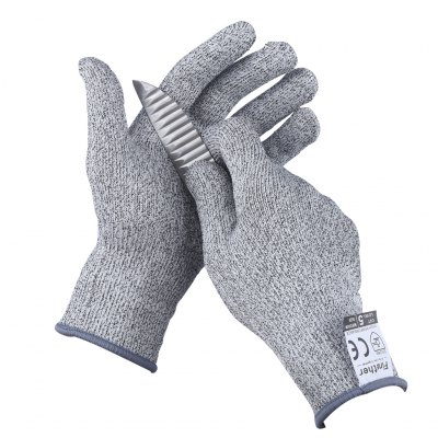 (CUT GLOVE M) Finether Cut-Resistant Gloves, EN388 Level 5 Cut Resistance and CE Certified, Medium Size