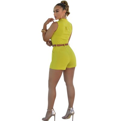 2016 new arrival summer fashion high collar design woman elegant OL style double pockets jumpsuits with beltShorts<br>2016 new arrival summer fashion high collar design woman elegant OL style double pockets jumpsuits with belt<br>