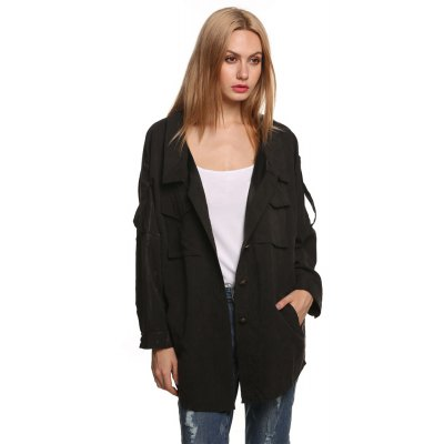 2016 spring autumn new arrival lapel pocket woman button fly casual coat