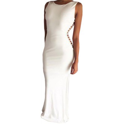 2016 fashion sexy style hollow out side woman backless sleeveless long dress