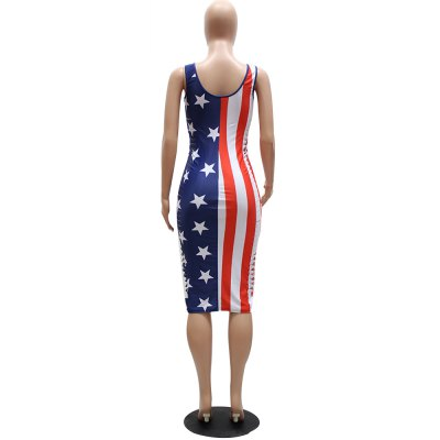 2016 new stlye national flag printing sexy V-neck woman hollow side closed-fitting braces dressSleeveless Dresses<br>2016 new stlye national flag printing sexy V-neck woman hollow side closed-fitting braces dress<br>
