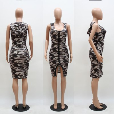 2016 new sexy fashion deep-V-neck camo printing hooded woman button fly slit dressSleeveless Dresses<br>2016 new sexy fashion deep-V-neck camo printing hooded woman button fly slit dress<br>